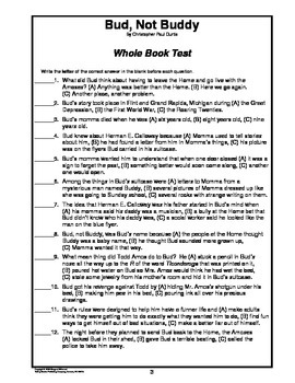 Bud, Not Buddy    Whole Book Test