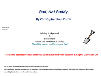 Bud Not Buddy interactive notebook