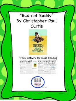"""Bud not Buddy"" Trifold Activity McGraw Hill Reading Wonders 5th Grade"