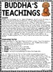 Buddha's Teachings Reading Comprehension Worksheet Buddhism