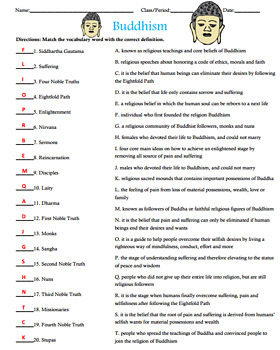 Buddhism Activity Matching with Answer Key