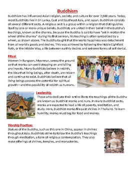 Buddhism: Rituals, leadership, and worship practices handout