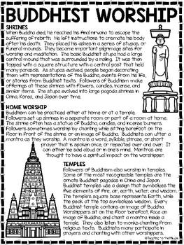 Buddhist Worship Reading Comprehension Worksheet Buddhism Temples Shrines