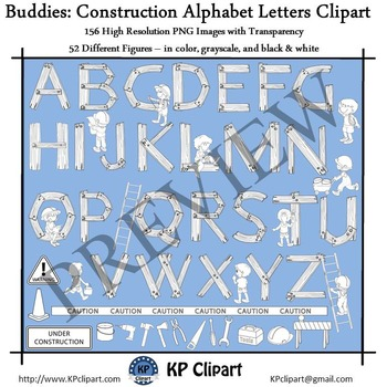 Buddies Construction Tools Alphabet Letters and Kids Clipart