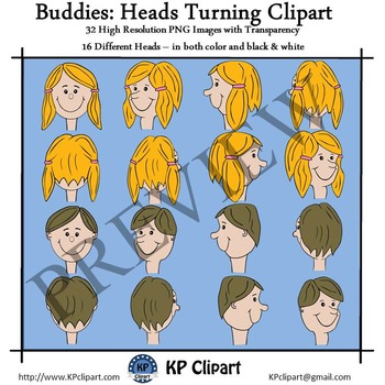 Turning Heads and Faces Clipart