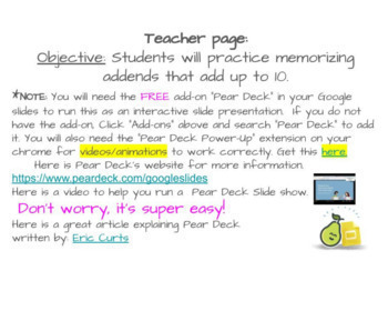 Buddies of 10 - Interactive slides with Pear Deck