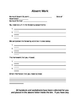 Buddy Absent Work sheet