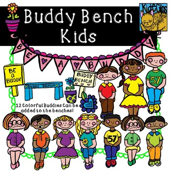 Buddy Bench Kids Anti-Bullying Clip Art Kid-E-Clips Commercial and Personal