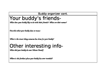 Buddy Biography Graphic Organizer
