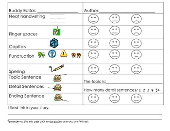 Buddy Editing Writing Freebie