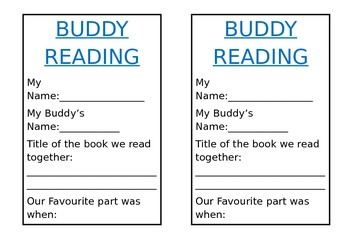 Buddy Reading Booklet