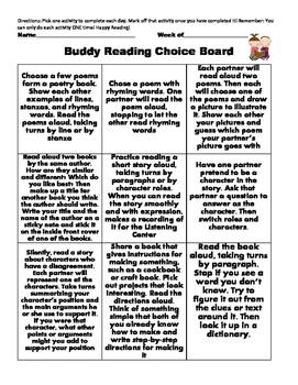 Buddy Reading Choice Board