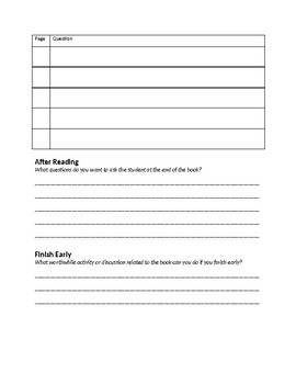 """Buddy Reading """"Lesson Plan"""" Worksheet for Students"""