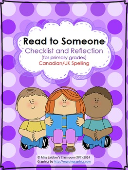 Buddy Reading (Read to Someone) Checklist for Primary {Canadian/UK Spelling}