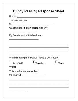 Buddy Reading Response Sheet