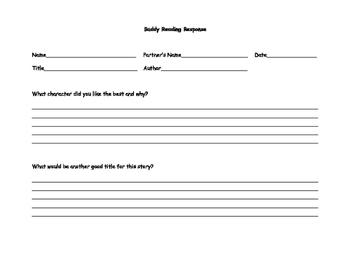 Buddy Reading Responses