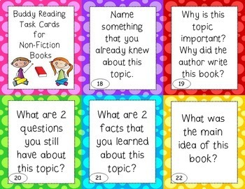 Buddy Reading Task Cards - EDITABLE - great for Daily 5 and Centers