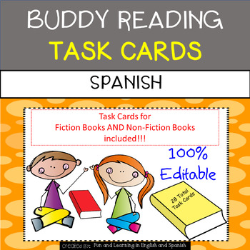 Buddy Reading Task Cards in SPANISH - EDITABLE - great for