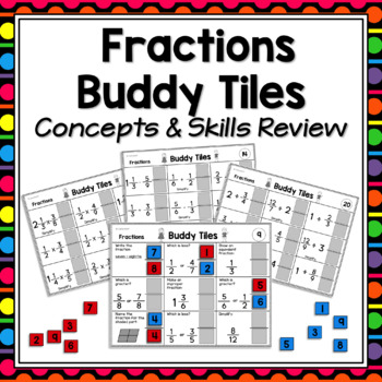 Fractions Games for Partners  -  Skills and Concepts Review and Test Prep!