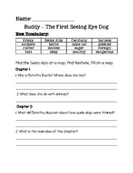 Buddy the First Seeing Eye Dog Comprehension Packet