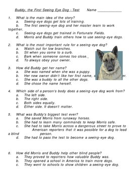 Buddy The First Seeing Eye Dog Multiple Choice Test By