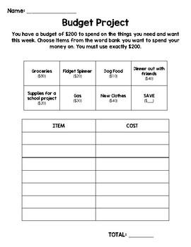 Budget Activity FREEBIE