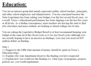 Budget Activity (Large Group) (Texas Edition)