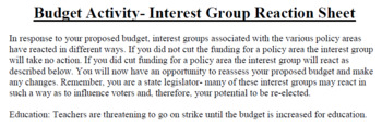 Budget Activity (Small Groups) (Texas Edition)