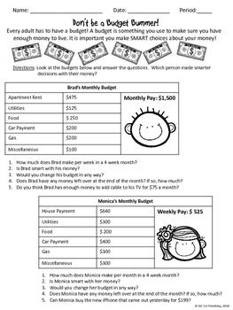 Budget Bummer Math Activity