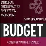 Budget Worksheet and Activity Unit Consumer Math Life Skil