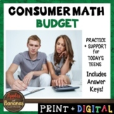 Budget - Consumer Math Unit (Notes, Practice, Test, and Project)