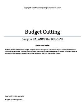 Budget Cutting Activity