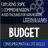 Budget Listen and Learn- Consumer Math Special Education