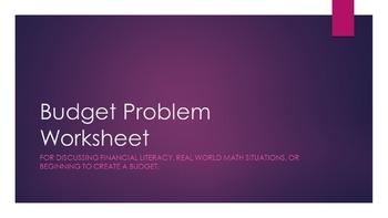 Budget Problem Worksheet