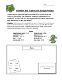 Addition and Subtraction Budget Project