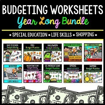 Budget - Special Education - Shopping - Life Skills - Money - YEAR LONG BUNDLE