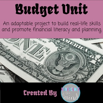 Budget Unit in five parts.  I used with both middle school and high school students. I currently use it in my economics class when studying budgeting and personal finance. This project can take as little or as long as you like. Students research the costs of different living expenses and careers and use these costs to complete budgeting worksheets. There is also a writing component at the end to evaluate their own learning. The entire project can take several weeks and may require computer time. This project includes college and career research. There are directions, an 8-page budget document, a letter to parents, and a grade sheet.