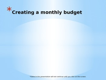 Budget lesson and presentation for Excel