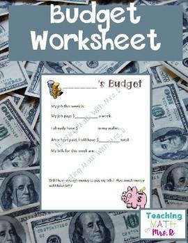 Budgeting Classroom Economy Budget Sheet