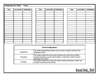 Budgeting Lesson Plan, Template, & Data Sheet - Special Education