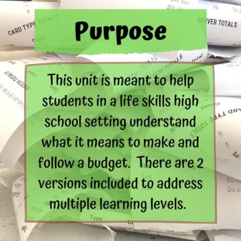 budgeting lesson plans for special education pdf