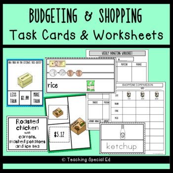 Budgeting And Shopping Worksheets And Task Cards By Teaching Special Ed