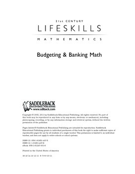 Budgeting and Banking Math (21st Century Lifeskills Mathemathics)