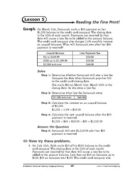 Budgeting and Banking Math: Credit Card Budgeting-Reading the Fine Print!