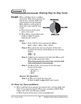 Budgeting and Banking Math: Paying Your Way-Sharing Day-to