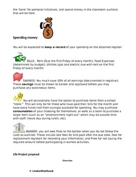 """Budgeting and Money Management Class Project- """"Life Project"""" Editable"""