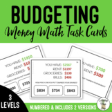 Budgeting for Savings - Differentiated Money Task Cards Subtraction Life Skills