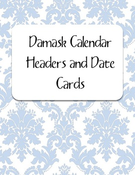 Bue Damask Calendar Kit: Headers and Date Cards