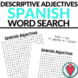 Spanish Adjectives Word Search - Descriptive Adjectives Vocabulary Worksheet