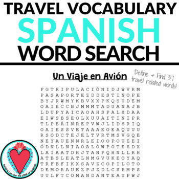 Spanish Travel Unit - Un Viaje WORD SEARCH